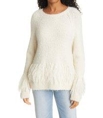 women's cinq a sept izabella alpaca & wool blend sweater, size large - ivory