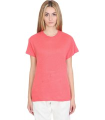 iro hinton t-shirt in red linen