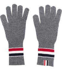 thom browne merino wool stripe rib gloves - grey