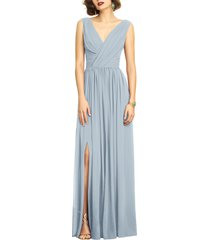 dessy collection surplice ruched chiffon gown, size 10 in mist at nordstrom