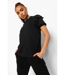 geribbeld t-shirt met ruches, black