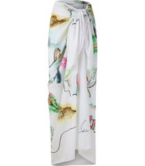 isolda paquistão watercolor print beach skirt - white