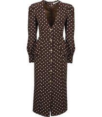 alessandra rich polka dot neck silk dress
