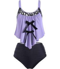 plus size bowknot ribbed tankini swimwear