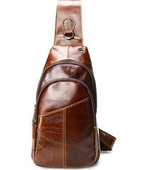 ekphero uomo vintage borsa a torace con tracolla in pelle vera