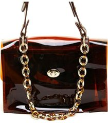 like dreams clear chain embellished shoulder bag