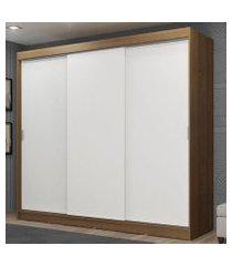 guarda-roupa casal madesa kansas 3 portas de correr 3 gavetas rustic/branco cor:rustic/branco