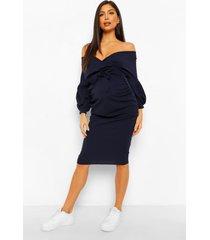 positiekleding midi-jurk in wikkelstijl met blote schouder, marineblauw