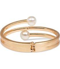 endless goldtone & faux pearl hinged bracelet