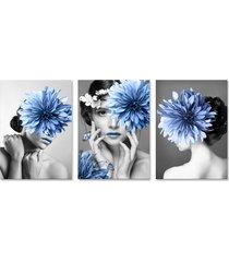 quadro 60x120cm canvas helga mulher com flores azuis - tricae