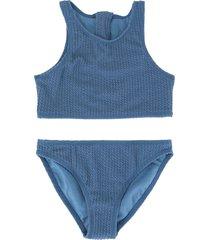 duskii girl zoe zip bikini set - blue