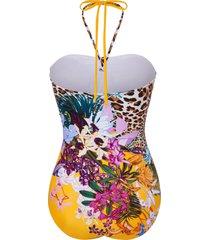 badpak print bloemen- en luipaardmotieven van fürstenberg geel