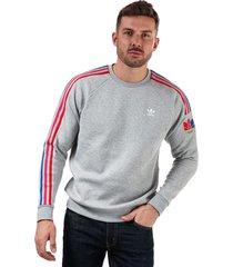 mens adicolor 3d trefoil 3-stripes crew sweatshirt
