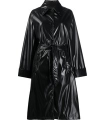 mm6 maison margiela leather-look patent trench coat - black