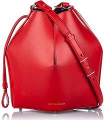 alexander mcqueen leather the bucket bag red sz: m