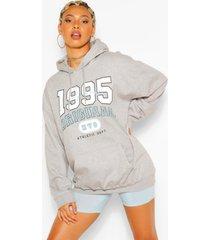 extreem oversized 1995 hoodie met tekst, grijs gemêleerd