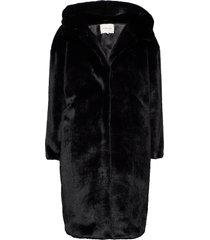 carli faux fur coat outerwear faux fur svart by malina