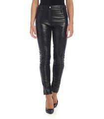alberta ferretti - black leather trousers