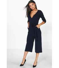 roll sleeve relaxed culotte jumpsuit, navy