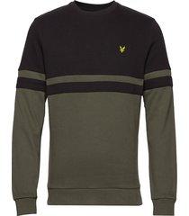 panel stripe crew neck sweatshirt sweat-shirt trui groen lyle & scott