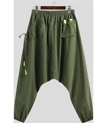 incerun hombres estilo japonés, pantalones harem sueltos con bolsillo anudado