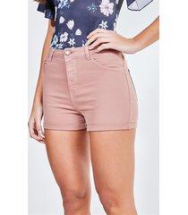 short cintura alta em sarja