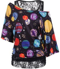 planet print lace lined batwing sleeve plus size top