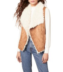 women's bb dakota chalet bae faux fur vest, size medium - brown