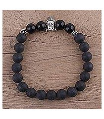 onyx beaded stretch bracelet, 'inner nirvana' (india)