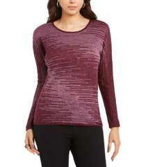 jm collection metallic-knit top, created for macy's