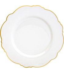 conjunto 6 pratos de porcelana para sobremesa maldivas branco com fio dourado wolff 21cm