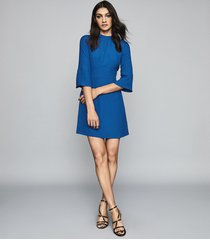 reiss cora - bell sleeve shift dress in cobalt blue, womens, size 14