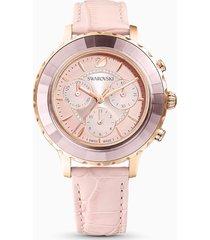 orologio octea lux chrono, cinturino in pelle, rosa, pvd oro rosa