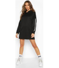 side stripe lounge hoodie dress, black