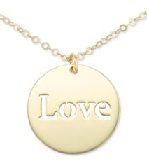 """italian gold cutout """"love"""" 18"""" pendant necklace in 10k gold"""