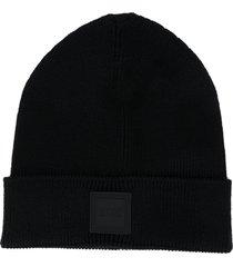 boss hugo boss fine knit beanie hat - black