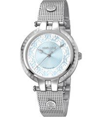 roberto cavalli by franck muller women's swiss quartz silver stainless steel bracelet ice blue dial watch, 34mm