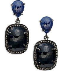 black rhodium-plated sterling silver, sapphire & diamond drop earrings