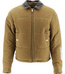 heron preston down jacket with leather collar