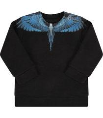 marcelo burlon black sweatshirt for baby boy with light blue wings