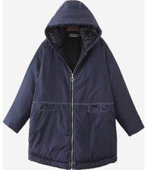 cappotto casual in cotone con cappuccio con zip per le donne