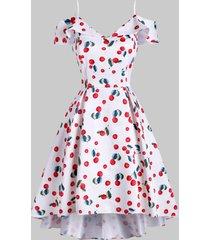cherry print cami foldover high low dress
