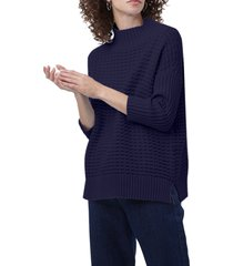 women's french connection mozart popcorn cotton sweater, size large - blue