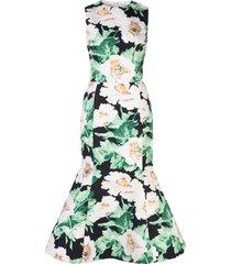oscar de la renta floral-print twill tulip-hem dress - black