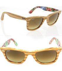 ray-ban wayfarer sunglasses rb2140 light wood **italy new 100% uv protection**