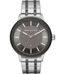 ax armani exchange men's maddox genuine diamond-accent two-tone stainless steel bracelet watch created for macy's 46mm