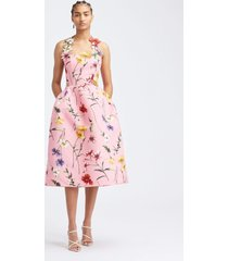 sleeveless halter full skirt floral cocktail dress