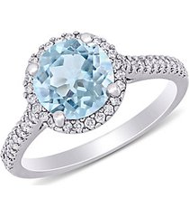 14k white gold, aquamarine & diamond halo engagement ring