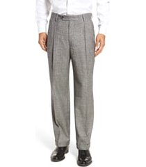 men's berle touch finish pleated plaid classic fit stretch wool trousers, size 42 - black