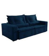 sofá 3 lugares retrátil e reclinável caxambu i veludo jolie azul marinho